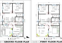 1125 2 floor east facing house plan with car parking