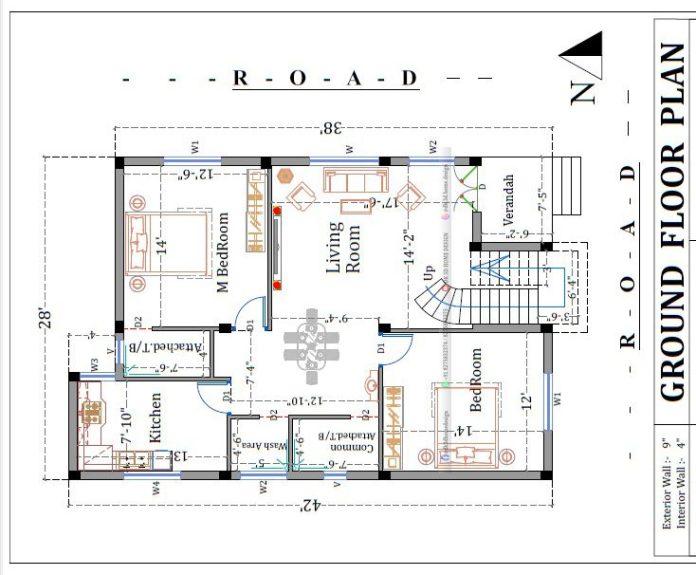 30x40 double floor house plan