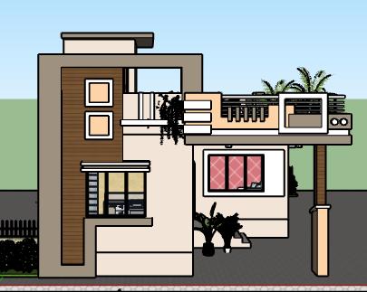 25 x 45 single floor house design 3d