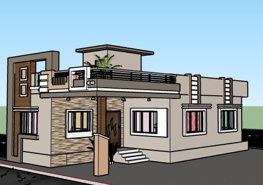 25*45 single floor house plan 3D