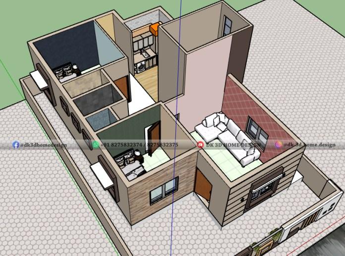 3d cut section of 150 sq meter floor plan