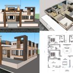 4 bedroom house plan with cut section and its front elevation design