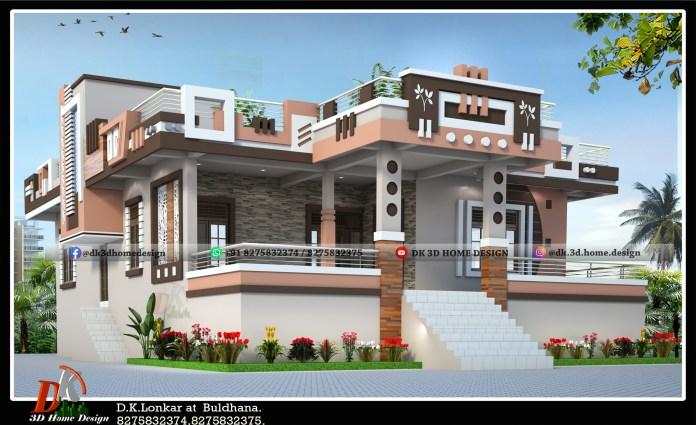 1600 sq ft house front elevation design