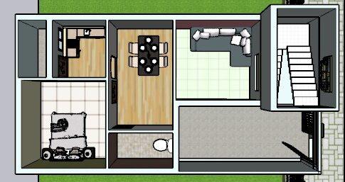 800 sq ft house plan 3d cut section
