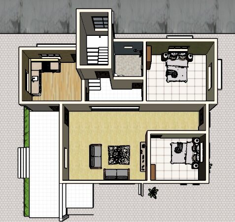 2000 square feet house plan 3d cut section