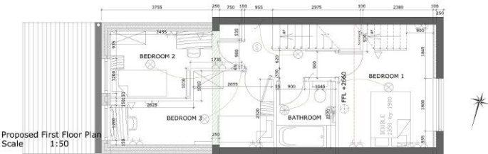 First Floor Plan Showing New Bedrooms