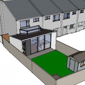 Rear extension design optimised to capture varied natural light through the day.