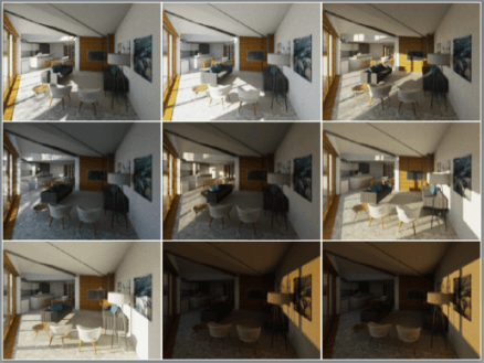 Cloud Rendering enables us to show the light quality in spaces through the day