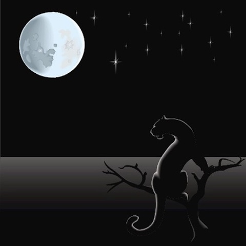 A black leopard under the full moon - symbol for the Oct. 19 Libra New Moon.