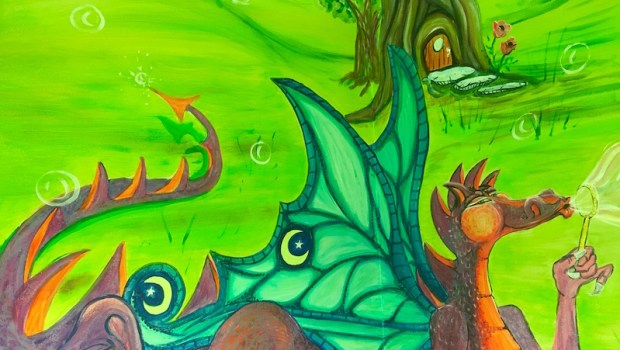 Dragon blowing bubbles - found in the bathroom at Kennesaw Pediatric clinic, Kennesaw Georgia