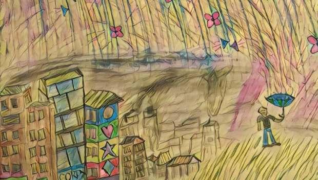 Sensory Rain. Drawing by DK.