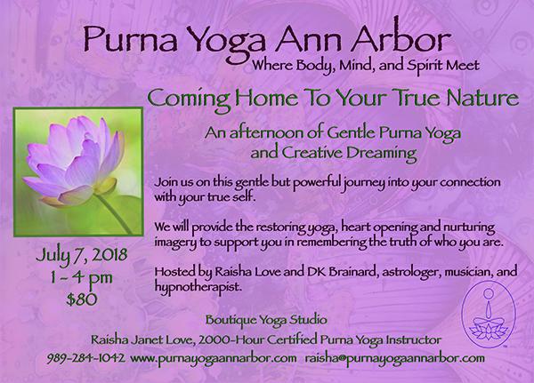 Ann Arbor Workshop - DK Brainard and Raisha Love - Purna Yoga, Music & Nature July 7 2018