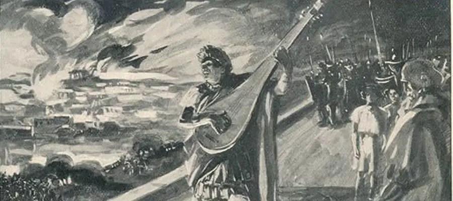 نيرو كان يعزف على الكمان بينما يشاهد روما تحترق