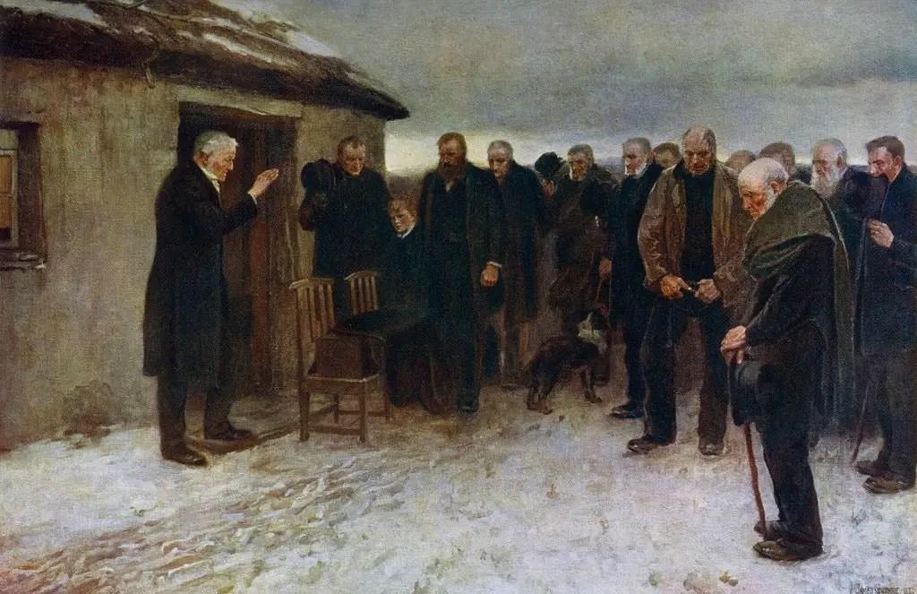 لوحة فنية تبرز مأتما في إنجلترا قديماً