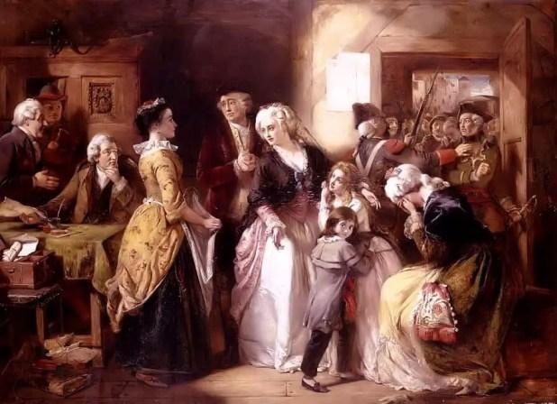 لحظة اعتقال الملك والملكة بتهمة الخيانة من طرف ثوار في (فاران) سنة 1791.
