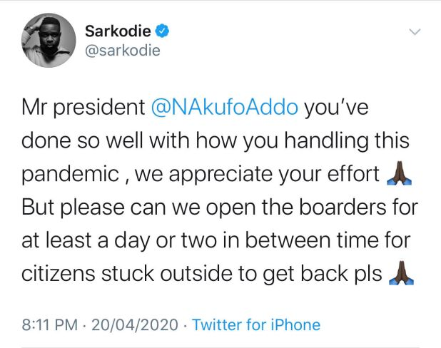 """Please can you open the boarders for at least a day for citizens stuck outside to come home"" - Sarkodie pleads with Nana Addo"