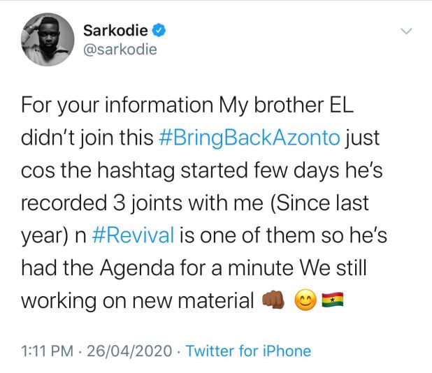 E.L and I have been working on the bring back Azonto agenda for a ...