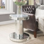 Ornat Faux Stone Mirrored End Table