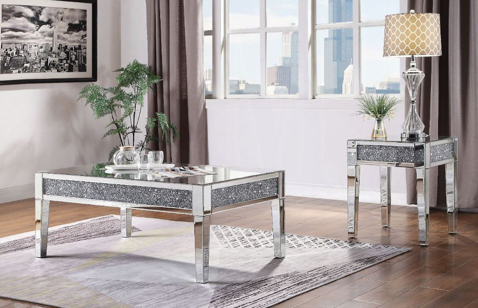 noralie mirrored coffee table with faux diamonds