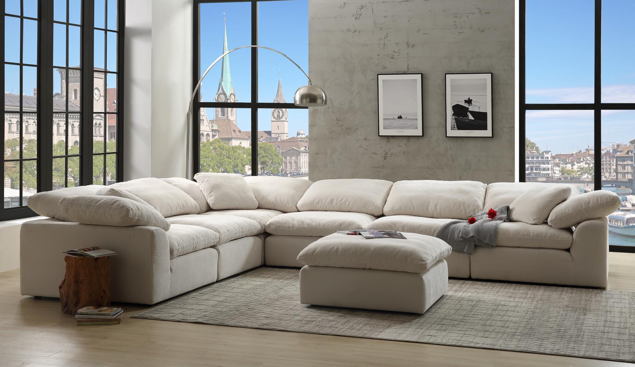 naveen contemporary modular sectional sofa with ottoman