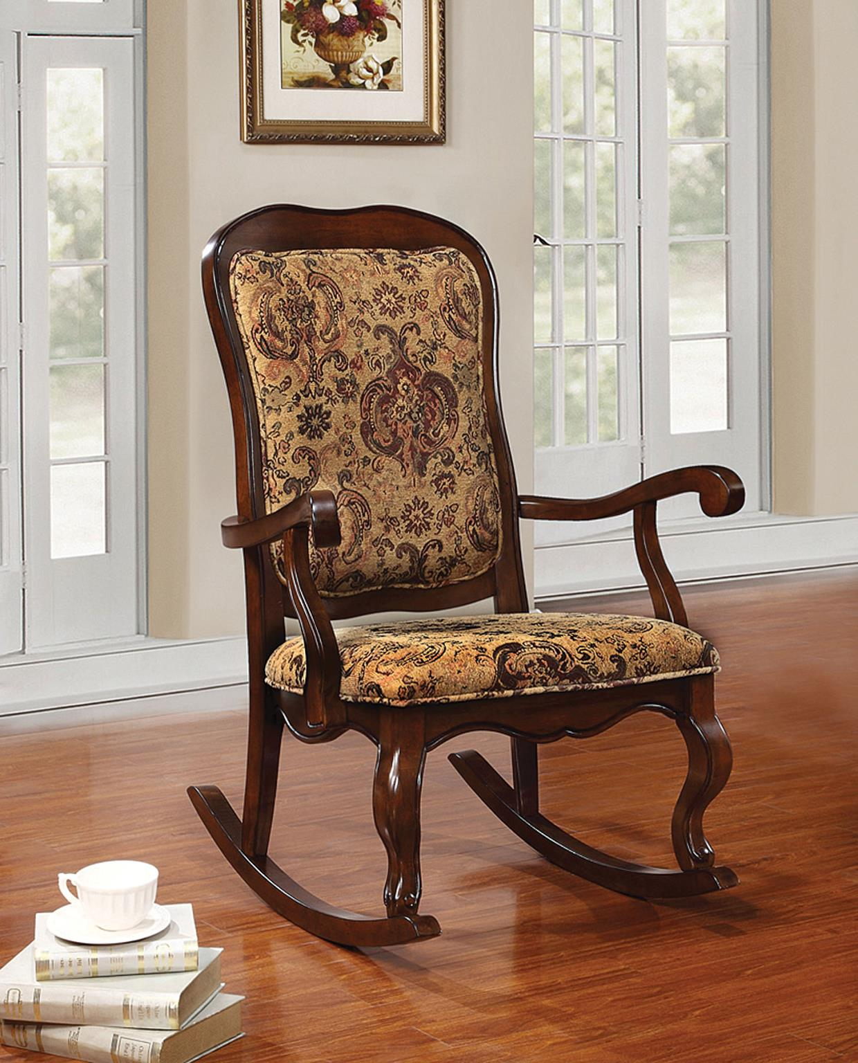 Sharan Traditional Cherry Floral Fabric Rocking Chair