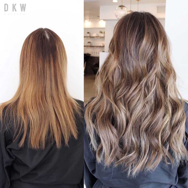 Natural Beaded Row™ Hair Extensions Before & After Picture