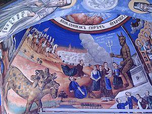 Fresco illustrating the Aocalypse (Book of Rev...