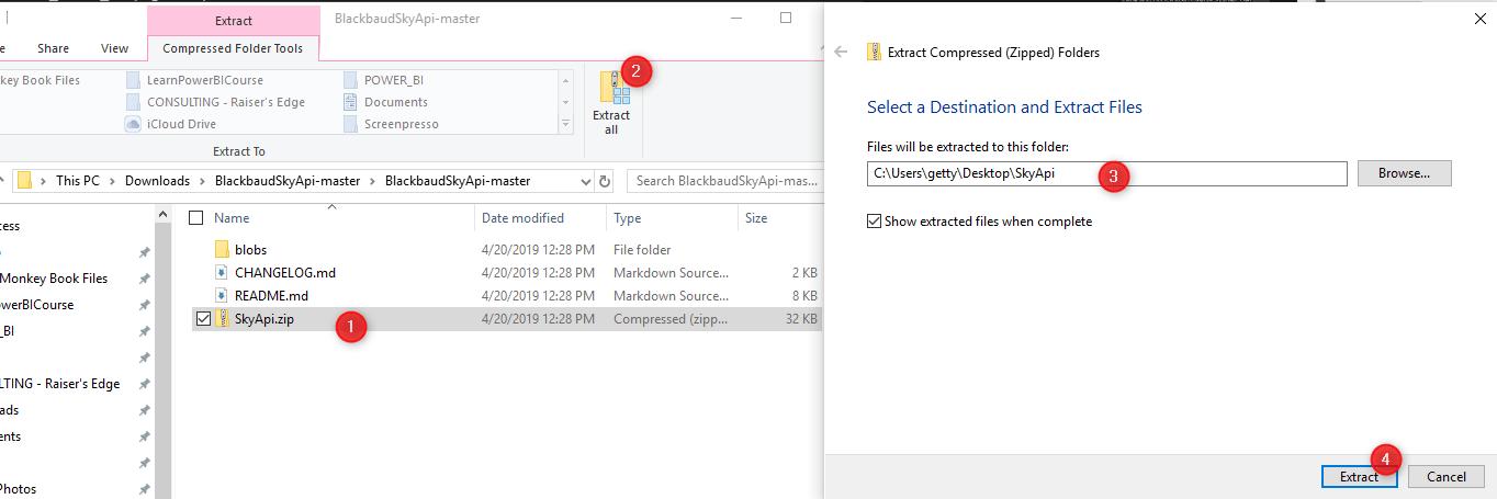 Extract SkyApi.zip to Desktop