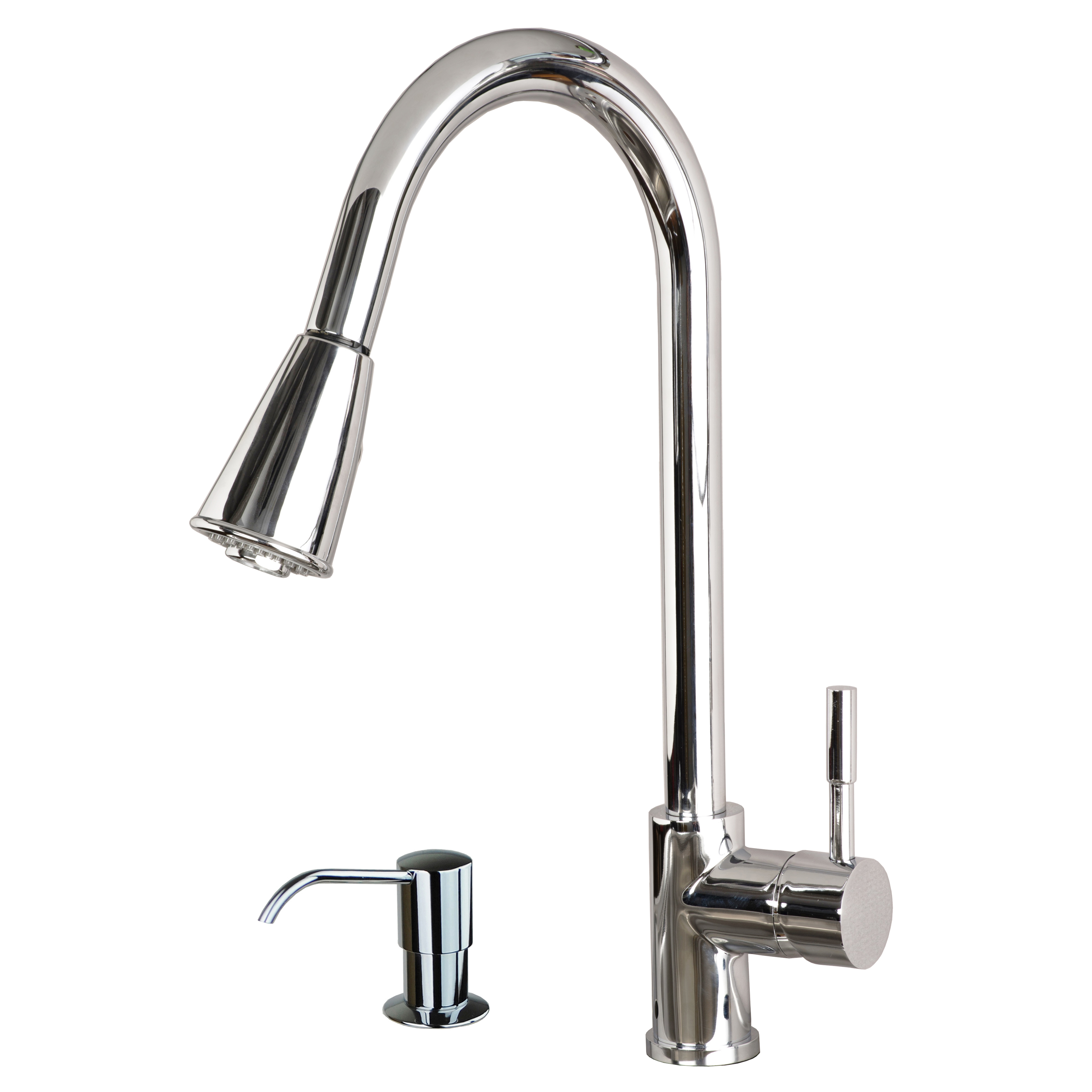 Contemporary 16 Pull Down Spray Kitchen Sink Faucet With
