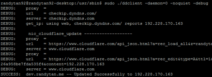 Dynamic DNS for Cloudflare using DDClient
