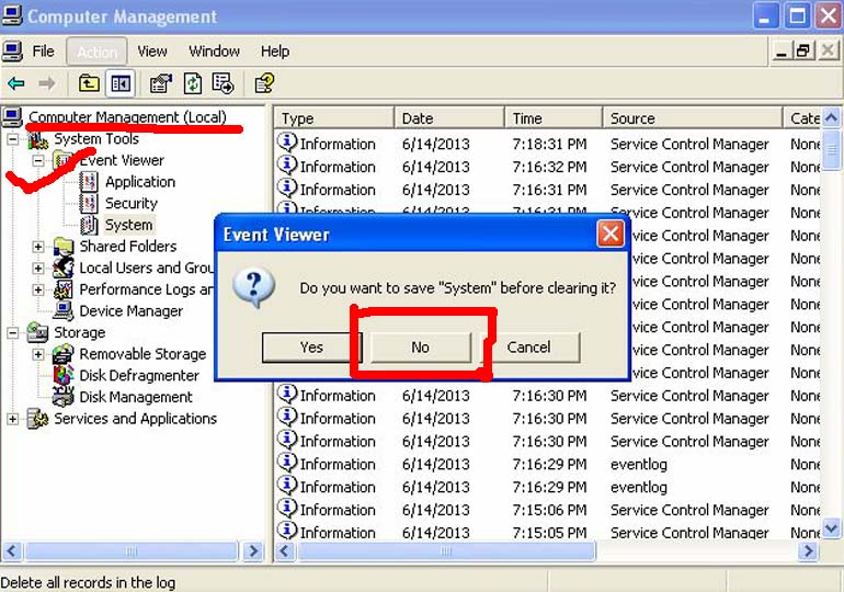 How to clear Computer management event viewer?