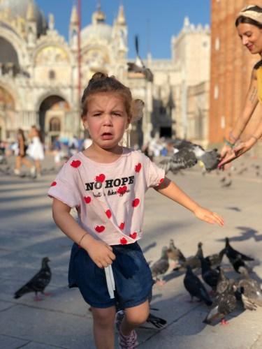 Jugando con las palomas, plaza San Marcos