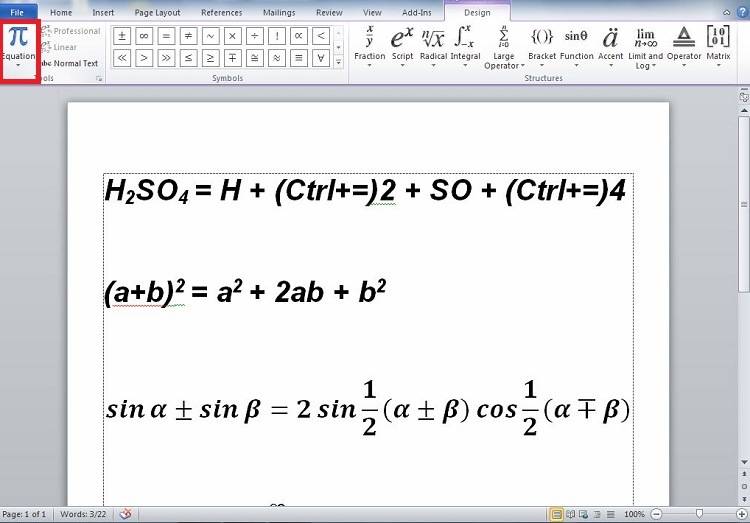 How to get equation in office word 2010?