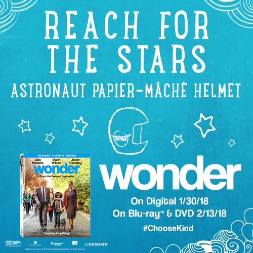 Wonder Movie Blu-Ray/DVD Release DIY Astronaut Papier-Mâché Helmet