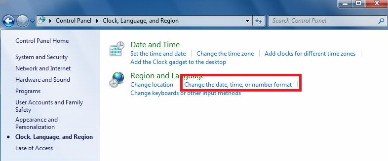 How to set date and time format on windows 7