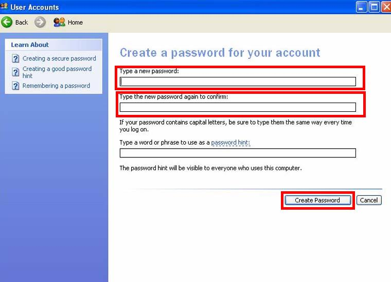 How to set user password of a computer?