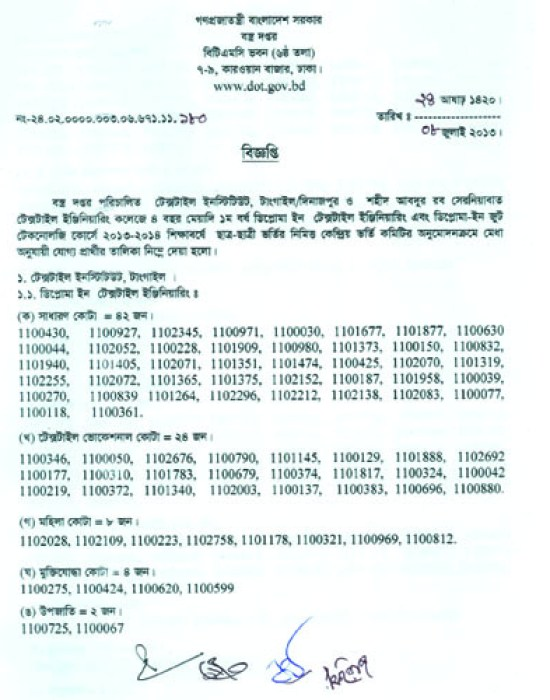 Diploma admission test result 2013
