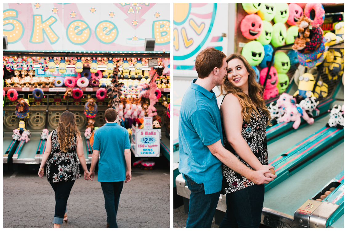 playing skee ball at the fair - Carnival Engagement - Courtney and Alan