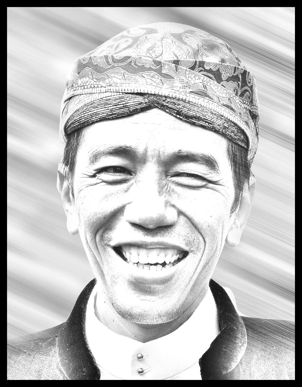Sketsa Jokowi Hitam Putih
