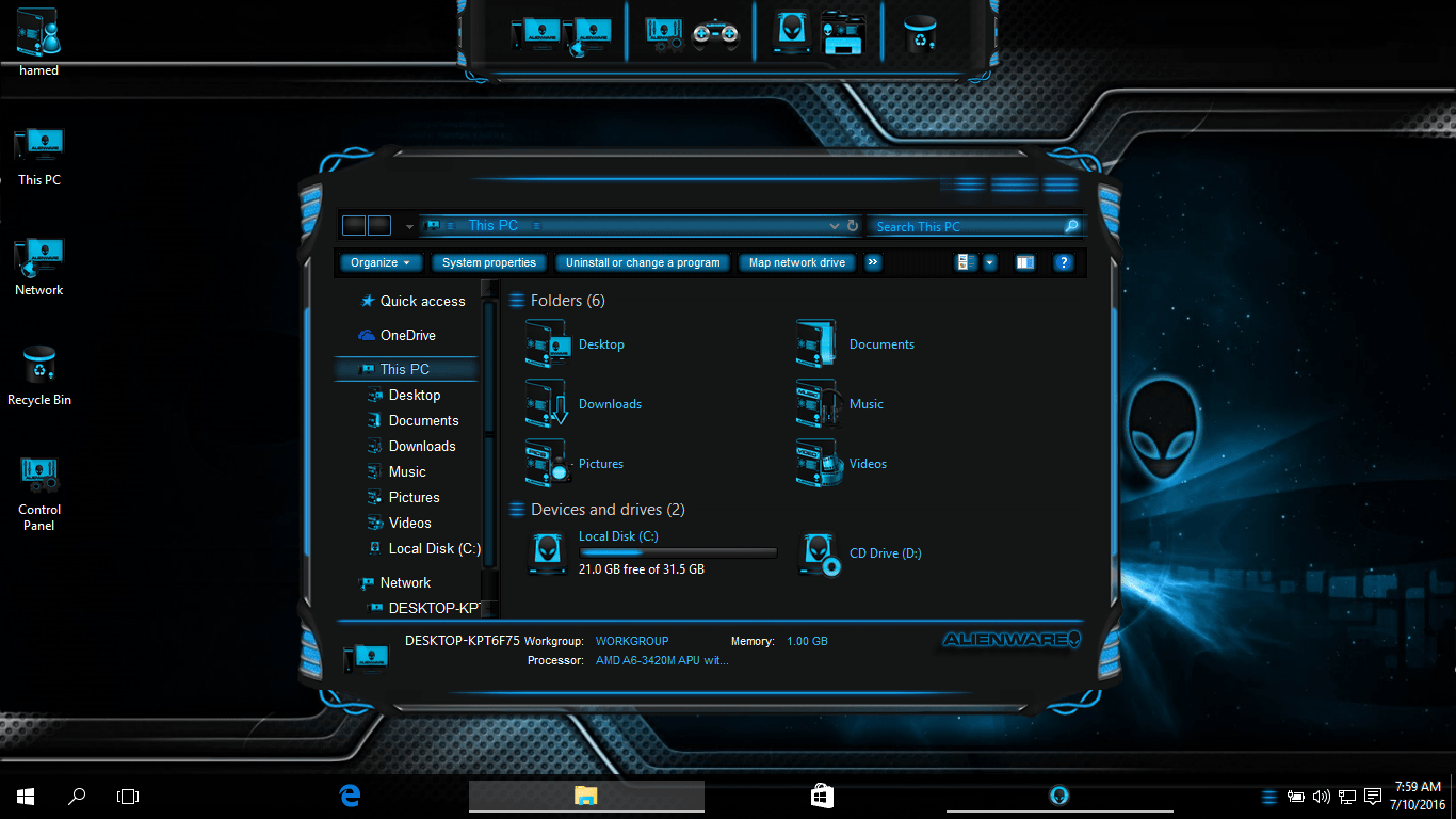 alienware themes for windows 7 32 bit free download