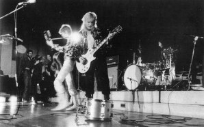 David Bowie and Mick Ronson perform 'Suffragette City' at London's Imperial College in 1972