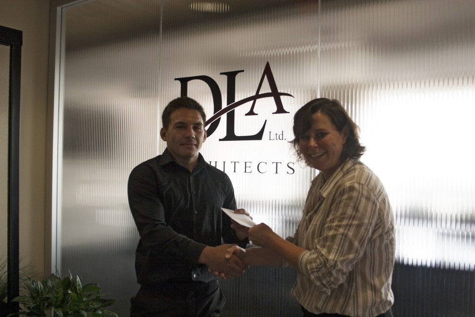 DLA Architects Principal Carrie Matlock presents scholarship to 1st place State Level winner Alejandro Duran