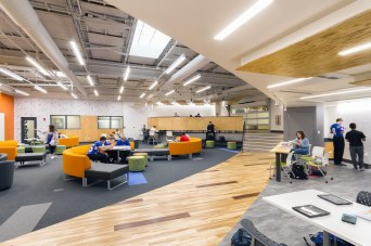 The entire space features LED lighting, zoned to allow for task and area specific dimming of fixtures. The lights are also a color temperature conducive to work environments.