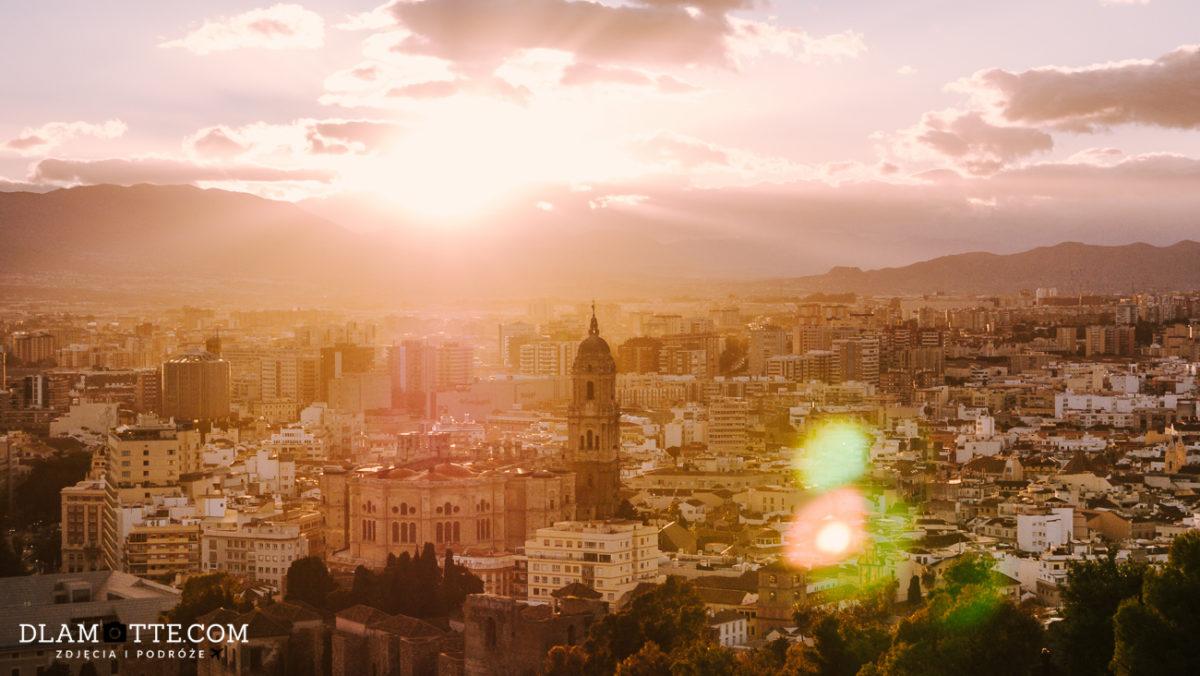 zachód słońca w Maladze roadtrip po Andaluzji