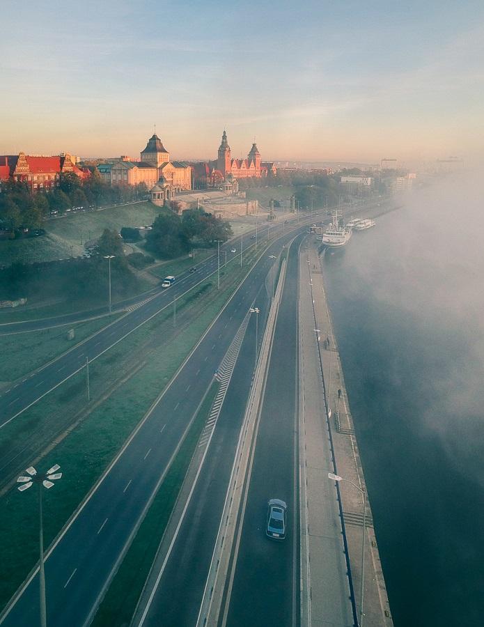 Szczecin mgła jesień