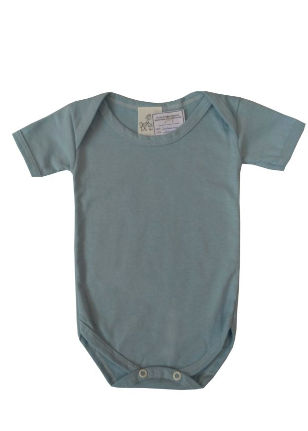 body infantil manga curta azul claro