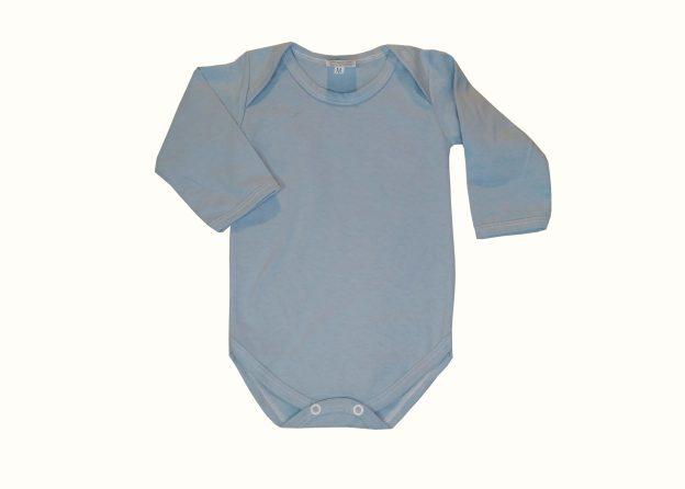 body bebê manga longa azul claro