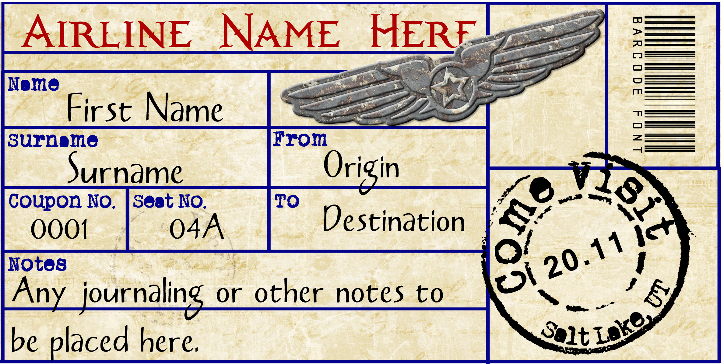 Airline Ticket Templates template airline ticket airline ticket – Airline Ticket Template Word