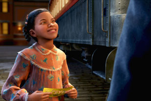 Polar Express a happy child with her ticket