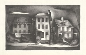 black and white print with distorted houses and a skelton sitting on the porch